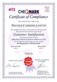 Premier Carriers Accrediation - ISO:9001 Quality Certification