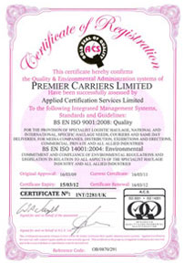 Premier Carriers Accrediation - ISO 9001: Quality