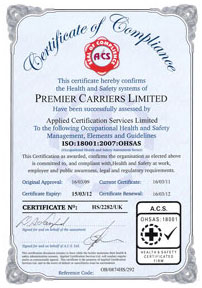 Premier Carriers Accrediation - ISO:18001